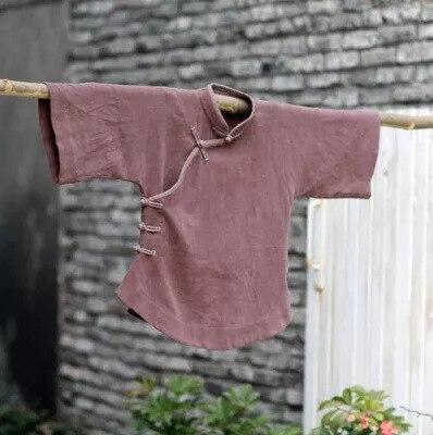 Chinese Shirt Vintage Top Three Quarter Sleeve National Small Handmade Hemp Shirt Plate Button Stand Collar