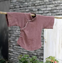 الصينية قميص خمر أعلى ثلاثة الأكمام الربع الوطني صغيرة اليدوية القنب قميص لوحة زر الوقوف طوق فضفاضة المرأة البلوزات
