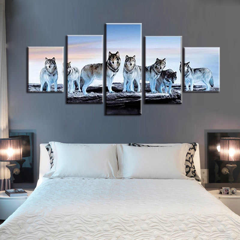 5 pieces of canvas art painting printed snow wolf moon wall art print canvas painting home decoration living room free shipping