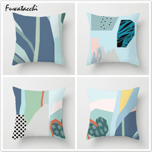 Fuwatacchi Watercolor Painting Pillow Cover Simple Geometric Throw Pillows Nordic Cushion Cover Linen Cotton Decorative Pillow цены