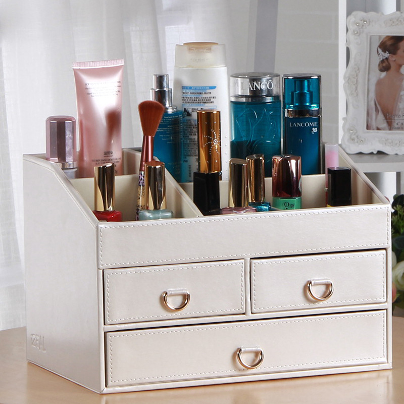 creative with mirror desk leather jewelry box makeup storage box organizer container case stand holder