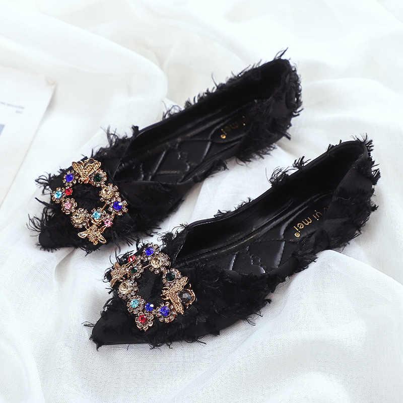 Koreaanse Luxe metalen vierkante crystal espadrilles vrouwen ondiepe puntige zachte zool rijden schoenen vrouw kwastje veer mocassins flats
