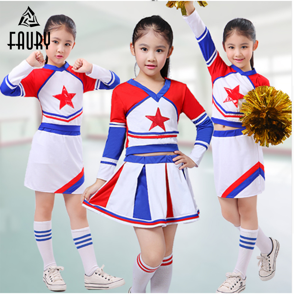 Girls Cheerleader Cheer Leaders Costume Children Academic Dress Primary School Uniforms Set Boy Aerobics Clothing Uniforms