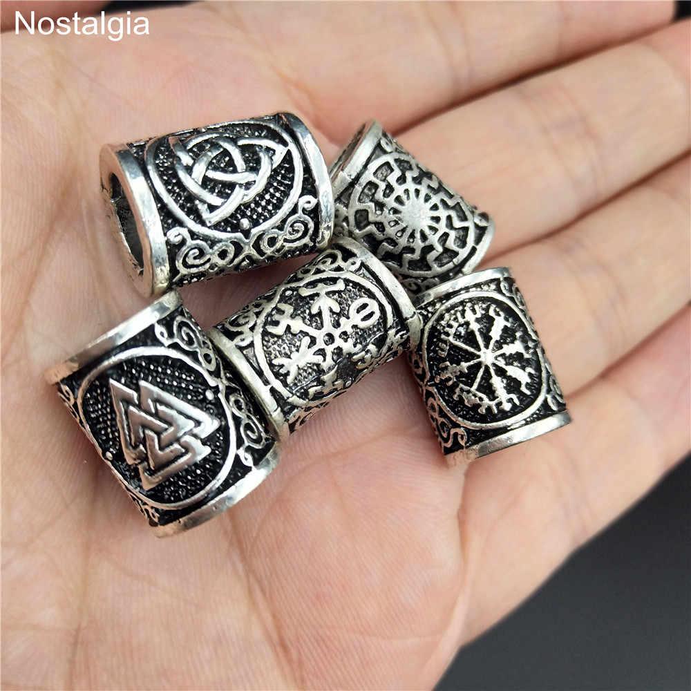 Viking Rune boncuk saç sakal pusula kar tanesi siyah güneş Trinity boncuk Charms bulguları kolye bilezik takı DIY