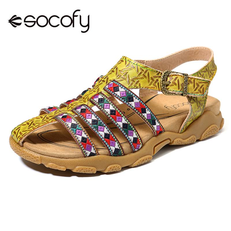 SOCOFY Comfortable Sandals Genuine Leather Splicing Bohemia Jacquard Buckle Strap Fisherman Sandals Women Shoes SummerSOCOFY Comfortable Sandals Genuine Leather Splicing Bohemia Jacquard Buckle Strap Fisherman Sandals Women Shoes Summer