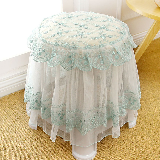 Lace Chair Covers Wedding Cover Set Pink Green Round Chair Pad Cushion Chair  Cover Lace Embroidered