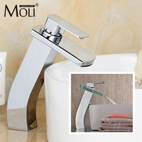 Glass mixer tap bathroom tall faucet deck mounted waterfall faucet chrome finish basin sink for bathroom