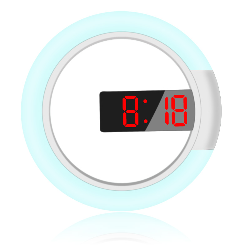 12-Inch Digital Wall Clock Multi-Function Round Digital Rgb 3D Led Wall Clock Display Time Wall Clock Wall Clock (Red Light)