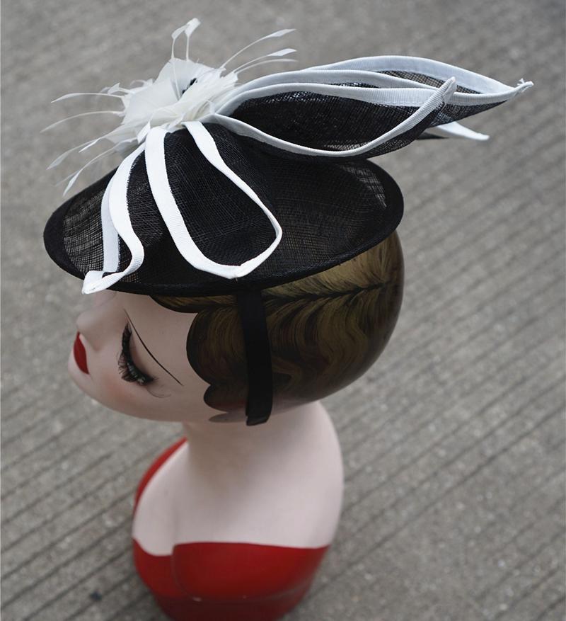 Chapeau mariage et cocktail Noir blanc