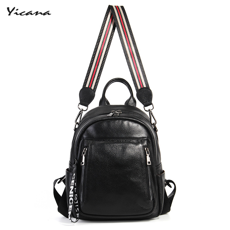 все цены на Yicana 2018 100% genuine leather women's softback Girl travel bags new style fashion backpack