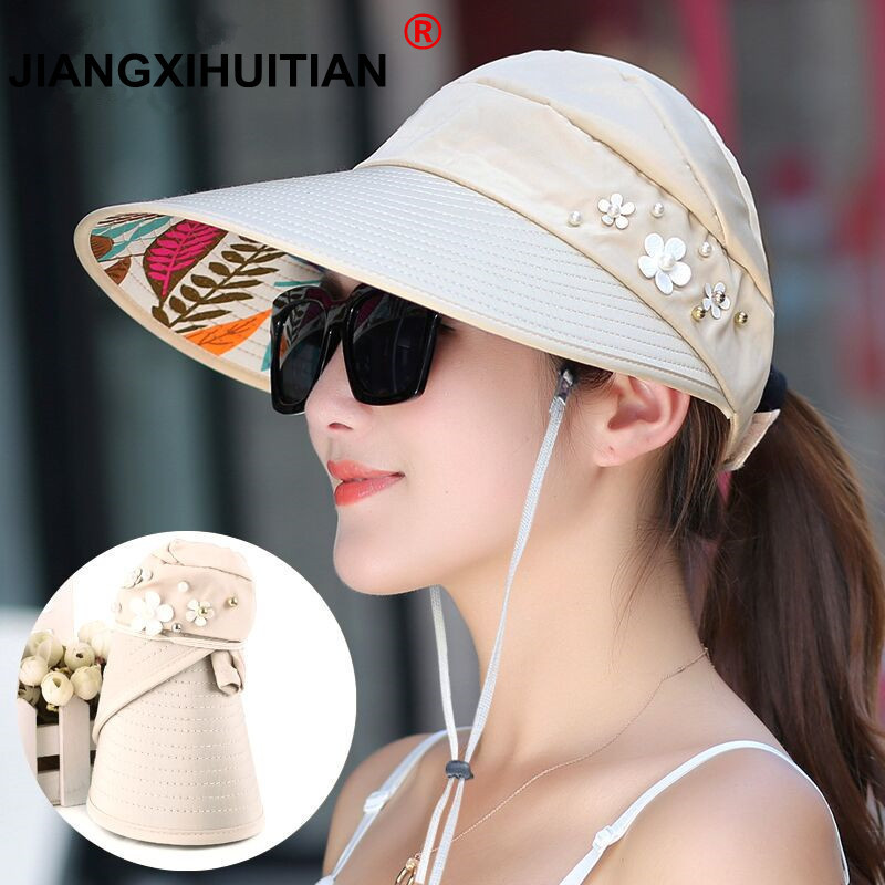 2018 Hot 1PCS Women Summer Sun Hats Pearl Packable Sun Visor Hat With Big Heads Wide Brim Beach Hat UV Protection Female Cap
