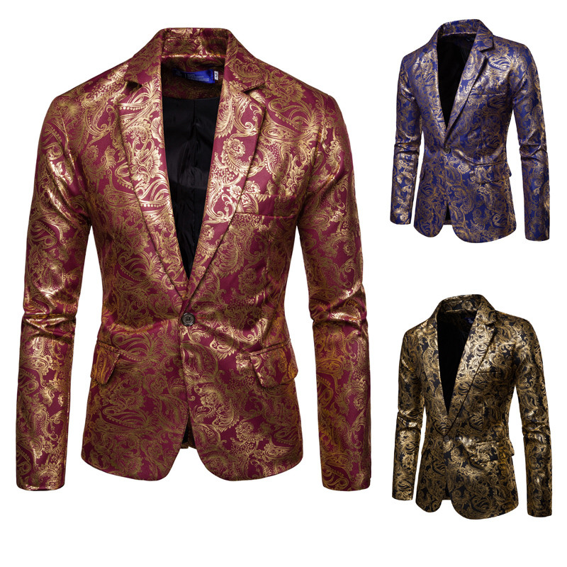 Blazer Jacket Suit Men Slim Fit Men's Suit Bright Face Gold Embosse Best Man Dress Blazer Masculino