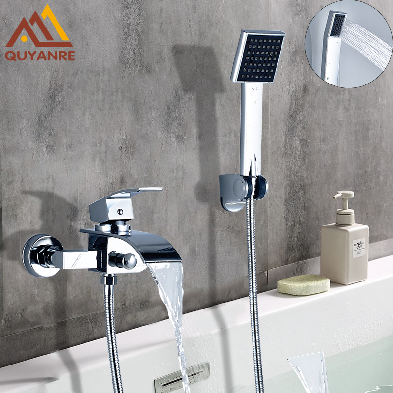 цена на Quyanre Bathtub Shower Faucet Waterfall Faucet Single Handle Mixer Tap Chrome ABS Handshower Bath & Shower Faucets
