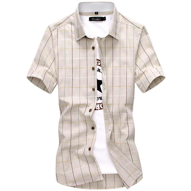 格子縞のシャツの男性 2019 新ファッション綿 100% 半袖夏カジュアルメンズシャツカミーサ masculina メンズドレスシャツ