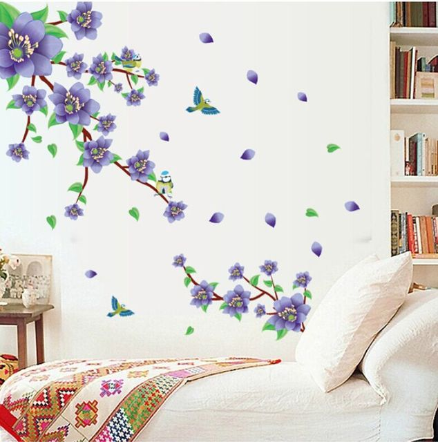 Romantic Purple Flower Diy Removable Wall Stickers Living Room Tv Sofa Background Sweet Home Decor