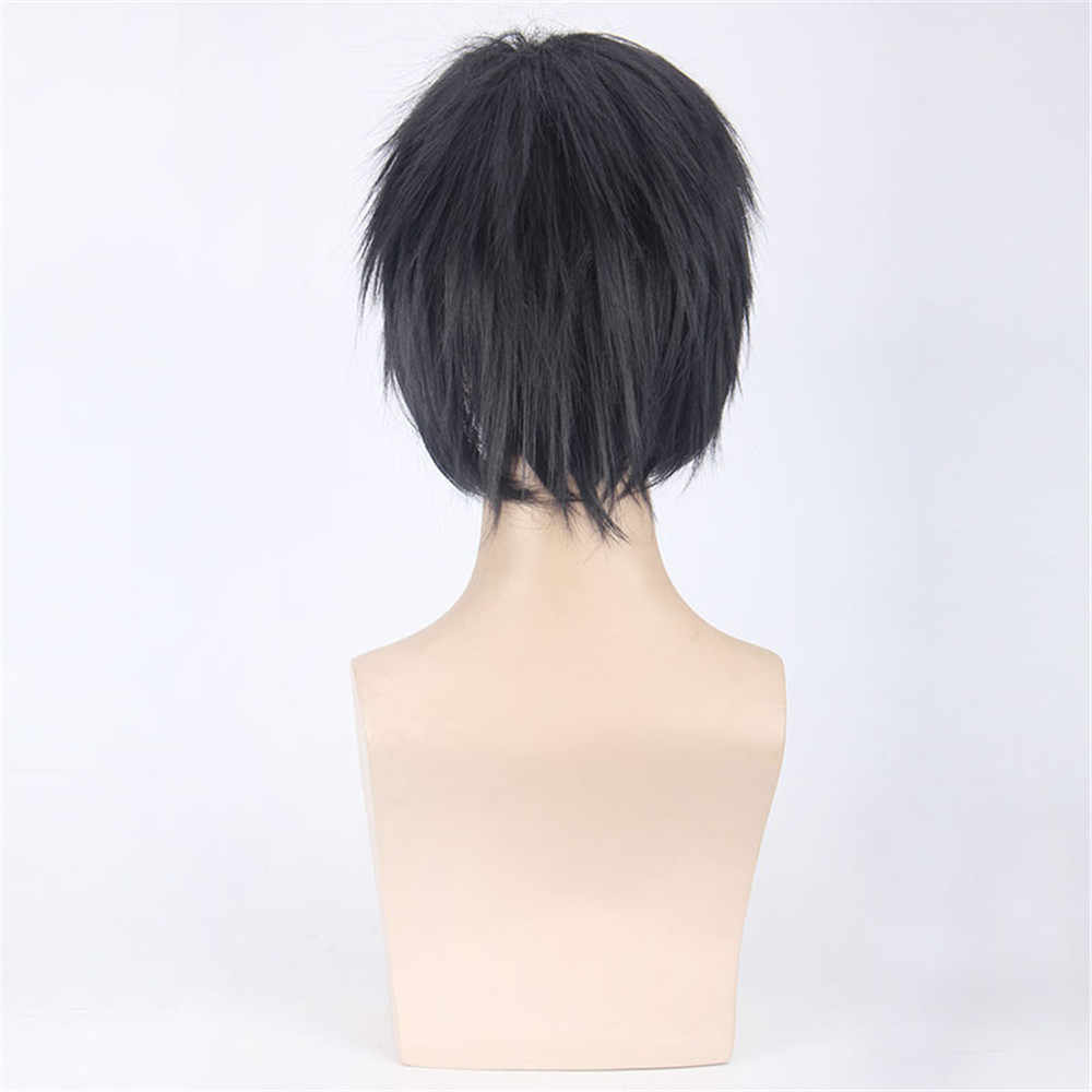 Наруто Учиха Саске 35 см короткие прямые парики для косплея для мужчин мальчиков высокое качество термостойкие синтетические волосы парик аниме Вечерние