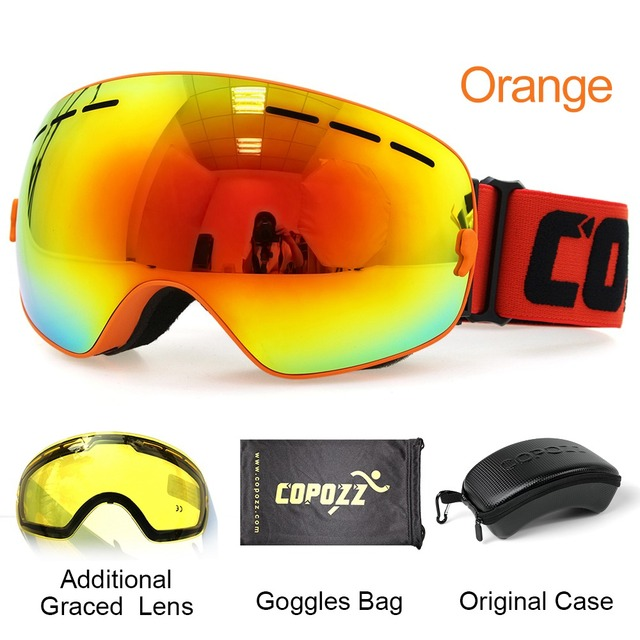 Ski Goggles with Case & Yellow Lens UV400 Anti-fog Spherical ski glasses skiing men women snow goggles + Lens + Box Set