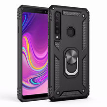 New Shockproof armor Silicone Bumper cover On The For coque Samsung Galaxy A9 A8 A7 A6 2018 metal magnetic with ring holder case(China)