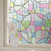 High Quality 2D Printed Static Cling Window Film Stained Glass Paper Decorative Frosted Vinyl Factory Price