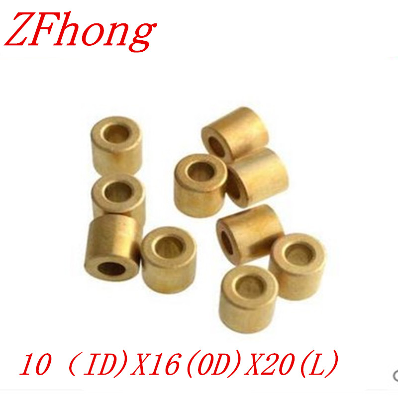10pcs 10*20 OD=16mm 10mm Copper brass bushing guide sleeve Precision Oil bearing
