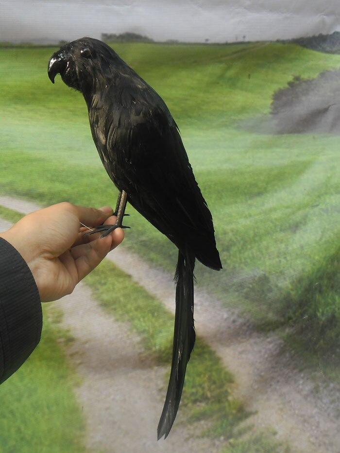 Environ 40 cm plumes noires perroquet oiseau, modèle à la main prop, décoration de la maison jouet cadeau w3955