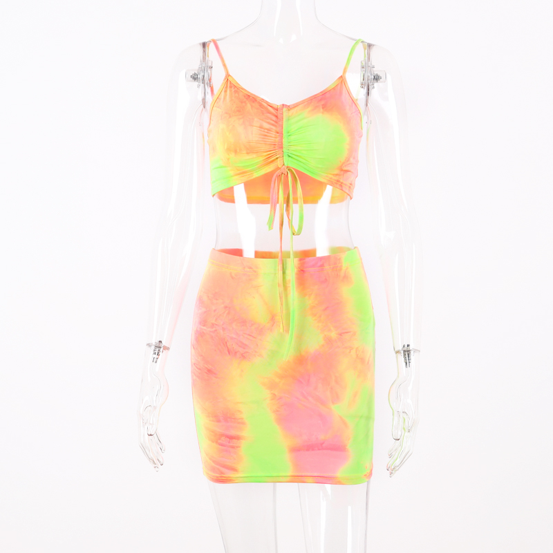 Hugcitar spaghetti straps tie dye print sexy camis skirt two 2 piece set 2019 summer women fashion party club holiday tracksuit 13