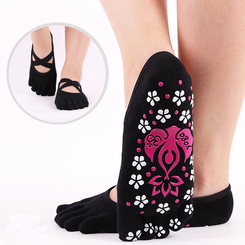 Women Yoga Socks Gym Pilates Ballet Cotton Toe Socks Girls Fitness Sport Socks Women Socks Anti Slip Breathable Elastic