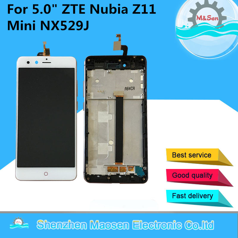 M&Sen For 5.0 ZTE Nubia Z11 Mini NX529J Lcd screen display+Touch screen digitizer with frame White/Black free shipping