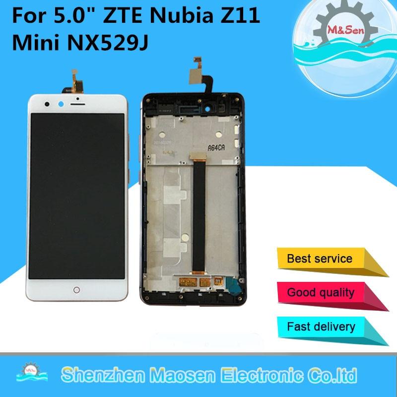 M & Sen Pour 5.0 ZTE Nubia Z11 Mini NX529J Lcd écran affichage + écran Tactile digitizer avec cadre blanc/Noir livraison gratuite