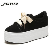 Feiyitu New Women's Suede Leather Platform Shoes Breathable Lady casual Shoes lace up girls loafers flats mother shoes Brown