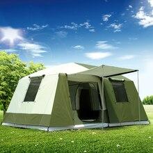 Süper güçlü çift katmanlı 6 12 Persom Ultralarge su geçirmez rüzgar geçirmez kamp aile çadırı büyük Gazebo güneş barınak