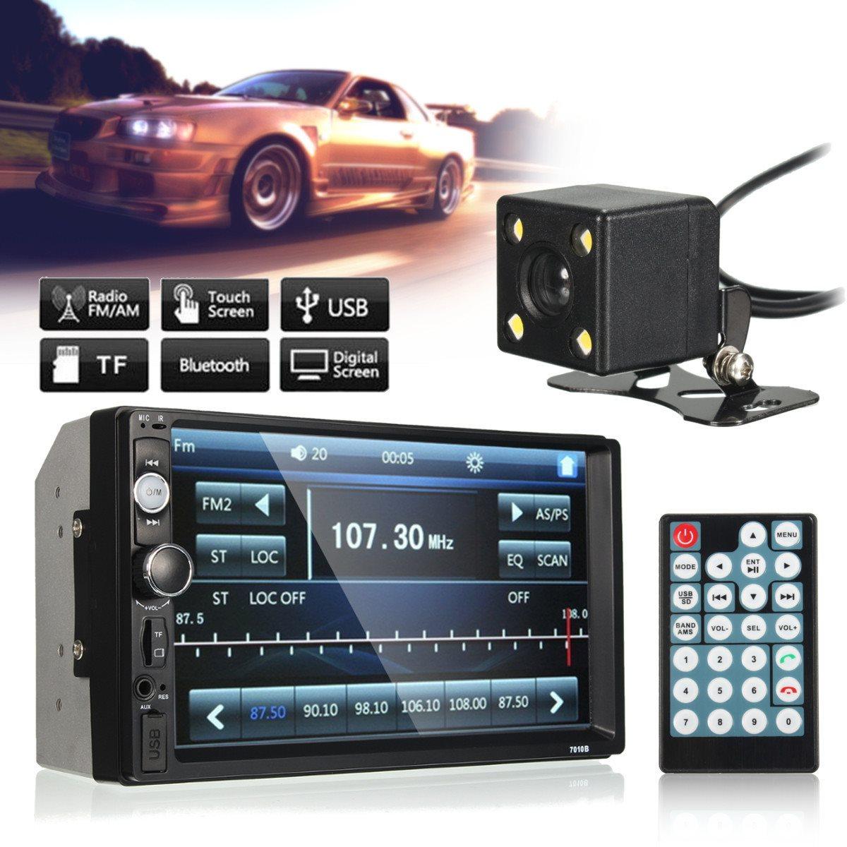 ФОТО 7 Inch Car Auto Audio Stereo Radio MP5 MP3 Player FM USB AUX Full HD Bluetooth Touch Screen 120 Dergree Rear View Camera