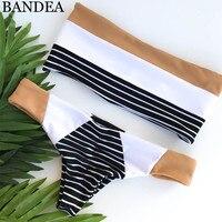 BANDEA Bandeau Bikini Set Thong Biquinis Patchwork Swimwear Women Swimsuit Seamless Bathing Suit Reversible Bodysuit Bikini