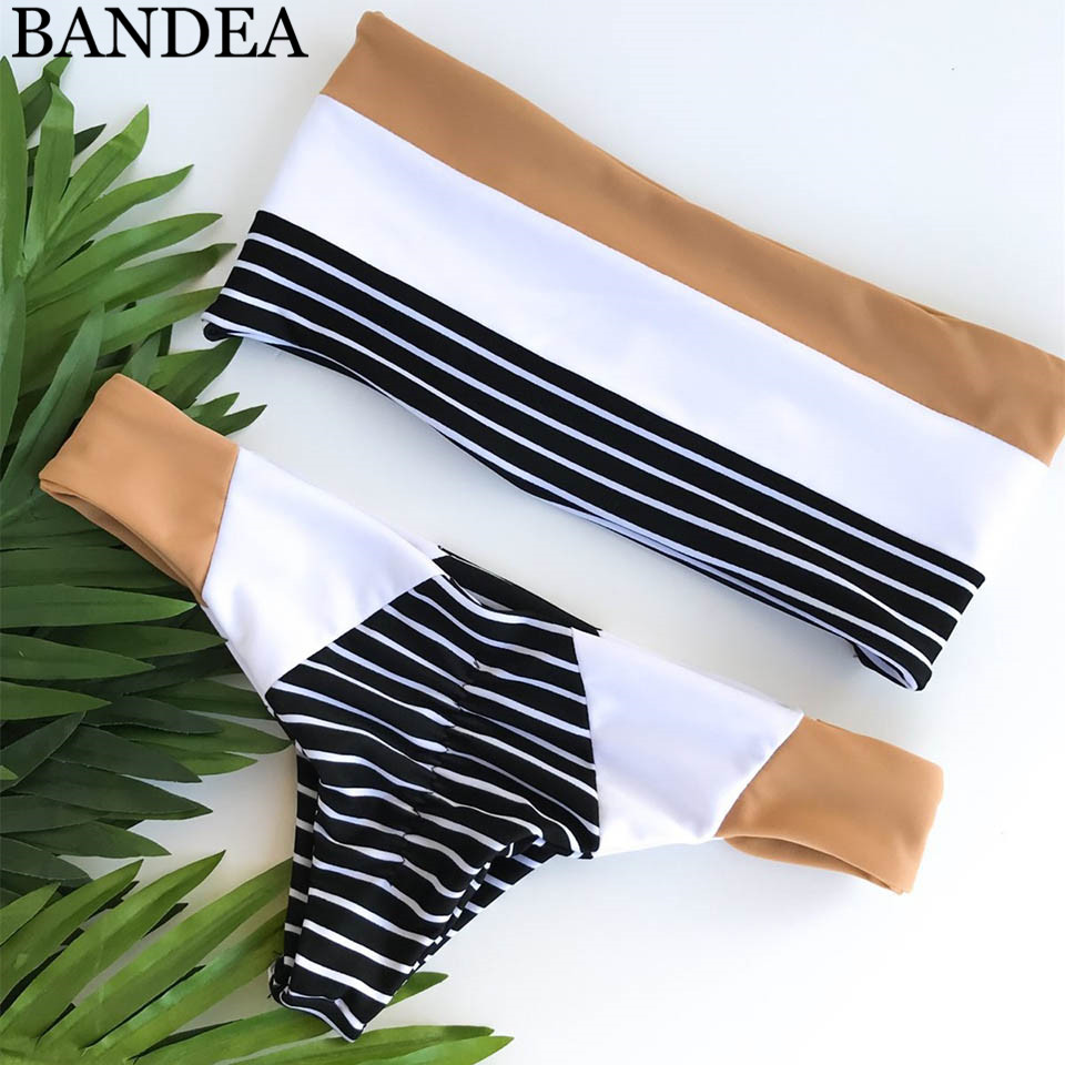 BANDEA Bandeau Bikini Set Thong Biquinis Patchwork Swimwear Women Swimsuit Seamless Bathing Suit Reversible Bodysuit bikini 2018