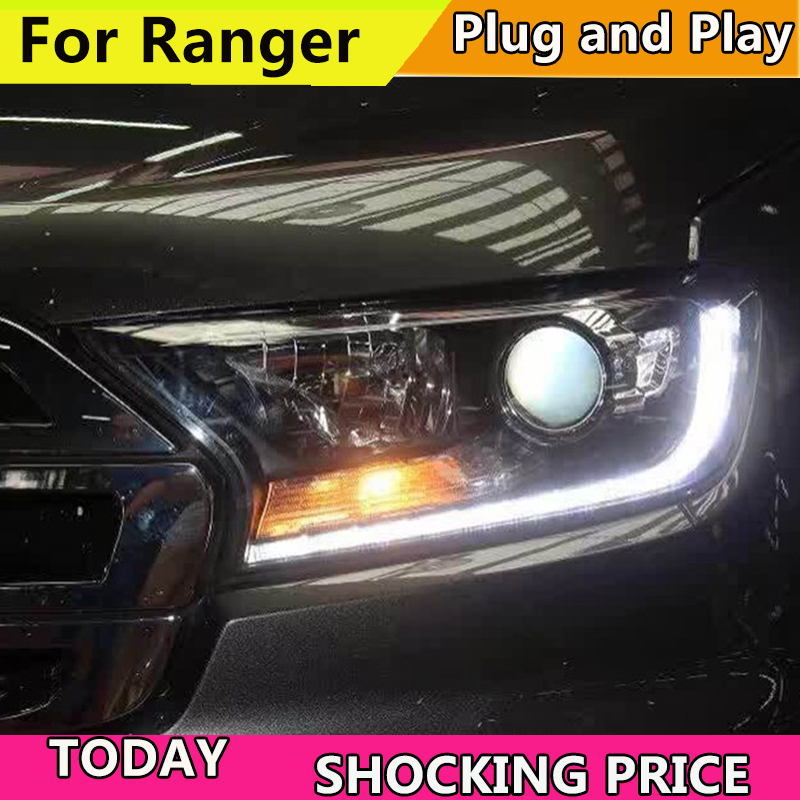 Car Styling For Car Head Lamp For Ford Ranger Headlight 2015 2016 2017 2018 For Ranger Pickup Truck LED Head Light H7 Xenon Bulb left right rear car styling head lamp taillight led taillight tail light lamp w bulb harness for ford ranger pickup ute 2008 11