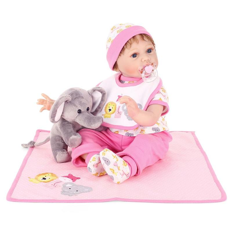55cm Realistic Simulation Baby Reborn Doll Soft Silicone Artificial Dolls Set with Cloth Elephant Toys Kids DIY Education Gift55cm Realistic Simulation Baby Reborn Doll Soft Silicone Artificial Dolls Set with Cloth Elephant Toys Kids DIY Education Gift