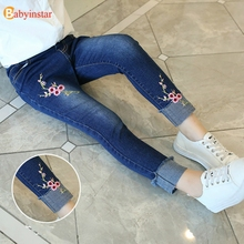 Jeans For Girl 2016 Spring Summer Style Girls Pants Cotton Fashion Cherry Print Girls Jeans For Children Clothing Casual Pants недорого