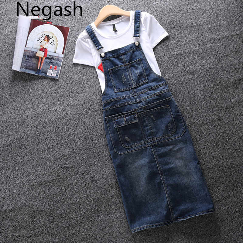 s-5xl large size Women Denim Dress Denim Sundress Girls Casual Loose  Overalls Female Solid 951ee256acc7