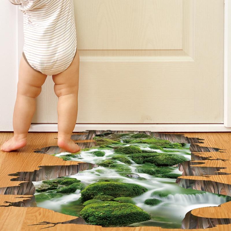 [SHIJUEHEZI] 3D Floor Stickers Vinyl DIY Waterfall Brook Wall Sticker for Kids Room Bathroom Kitchen Decoration Vinilos Paredes