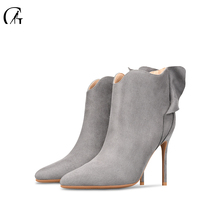 Купить с кэшбэком GOXEOU 2019 New  Women Boots Short Boots Autumn Thin High Heels Sexy Pointed Toe Party Office Handmade Free Shipping size32-46