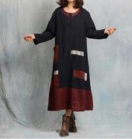 New Arrival Retro Vintage Loose Linen Dress High Quality Spring Women Long Sleeve Female Dress