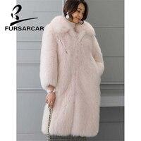 FURSARCAR Fashion New Real Fur Coat Women Winter Luxury Thick Fox Fur Coat With Turn down Collar Natural Fox Fur Outerwear