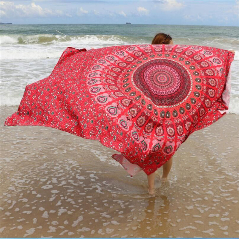 215*145cm Mini Dress Print Women Cover Up Red Printed Beach Bikini Summer Swimwear Bathing Suit Yoga Bathing Suit