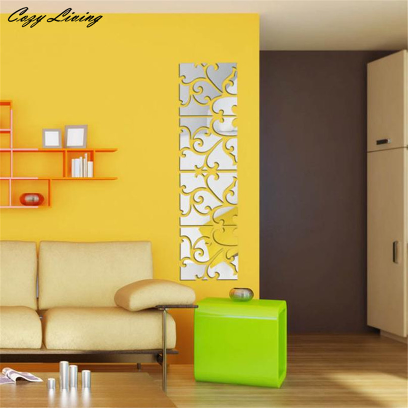 Home Decor Mural Art Wall Paper Stickers ~ Mirror wall stickers pcs diy d acrylic decal
