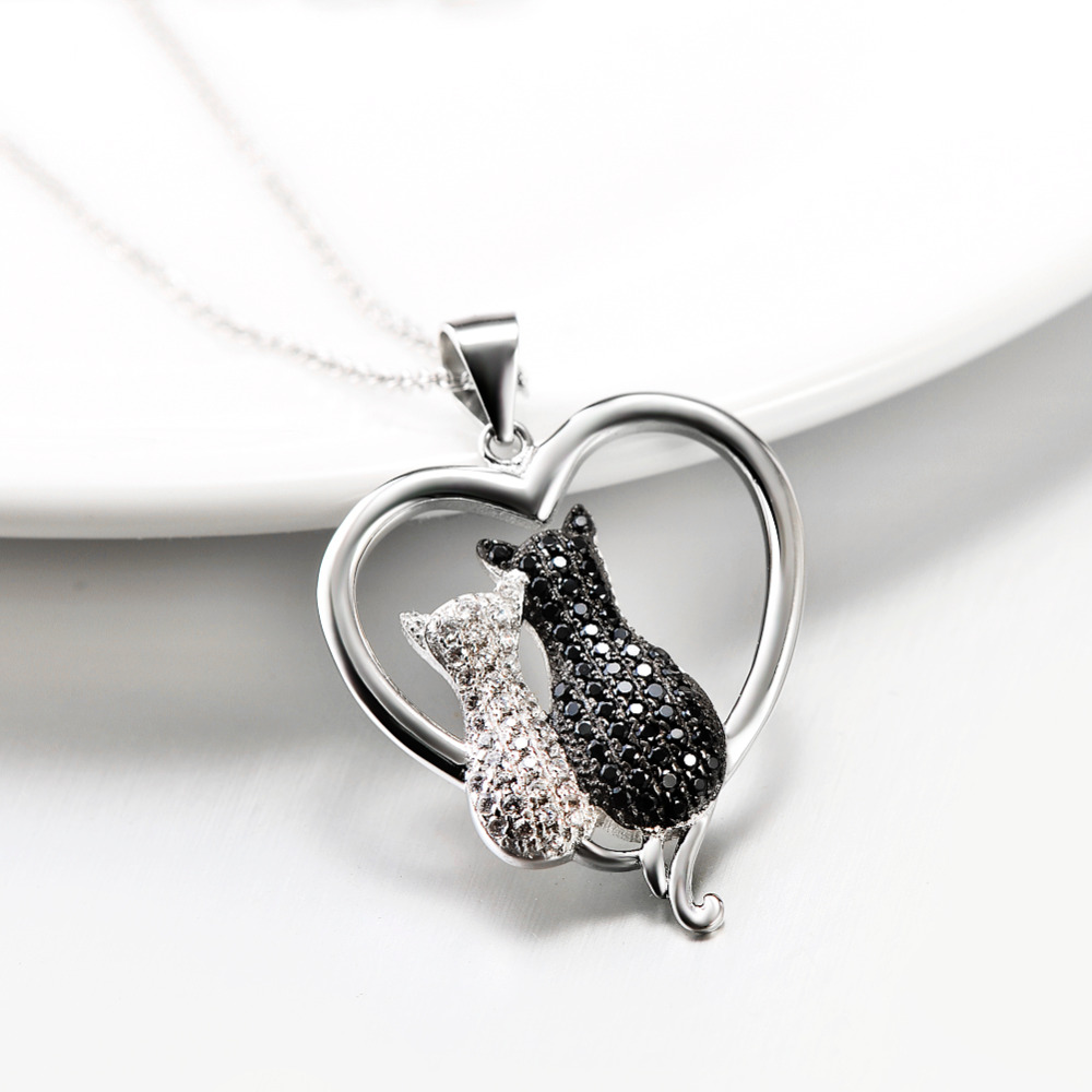 925 sterling silver necklace jewelry black white crystal cat 925 sterling silver necklace jewelry black white crystal cat necklaces pendants silver necklace jewelry for women gnx8858 in pendant necklaces from aloadofball Choice Image