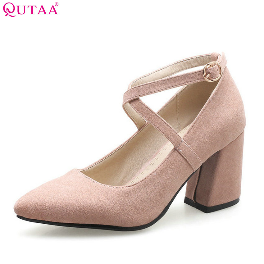 QUTAA 2018 Women Pumps Flock Square High Heel Women Cute Shoes Fashion Pointed Toe Casual Buckle Pink Ladies Pumps Size 34-43 xiaying smile summer woman sandals casual fashion women pumps square cover heel buckle strap flock rubber student women shoes