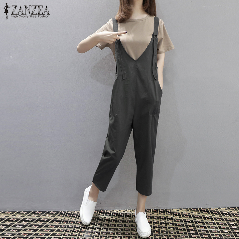 2018 ZANZEA Casual Women V Neck Sleeveless Pockets Jumpsuits Summer Vintage Loose Work Rompers Solid Party Overalls Plus Size