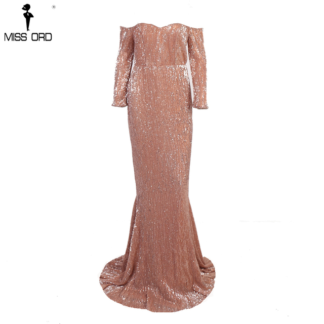 Missord 2019 Sexy  BRA Long Sleeve Off Shoulder Sequin Backless Dress Women Skinny Maxi Party Elegant Reflective Dress FT8714-1 3