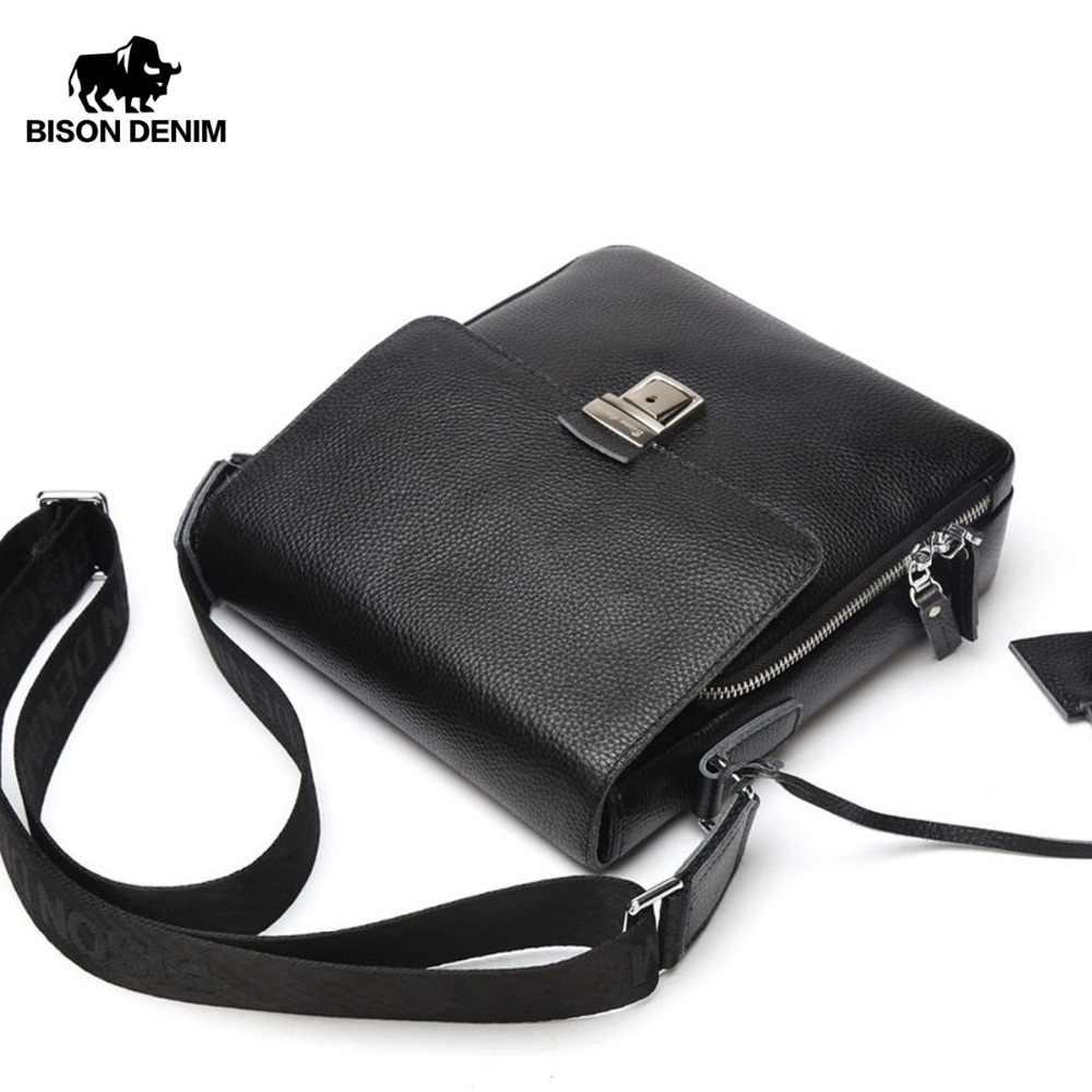 181a43e05527 Бизон джинсовые Для мужчин сумка Пояса из натуральной кожи Кроссбоди мешок  Для мужчин крышка Черный Бизнес