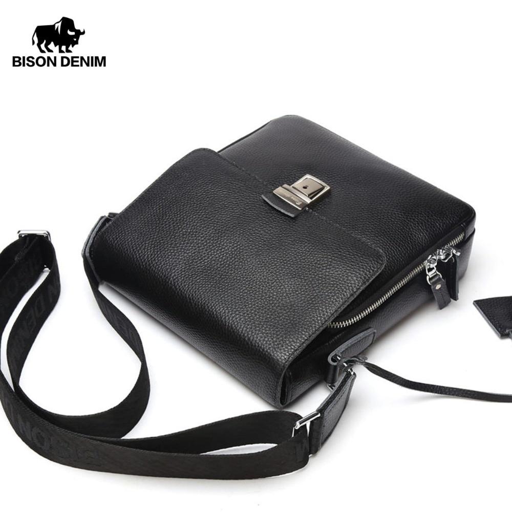BISON DENIM Kožené pánské kožené tašky na ramenní popruhy Cowskin příležitostné tašky na nákup Messenger pro samčí černé tašky N2531